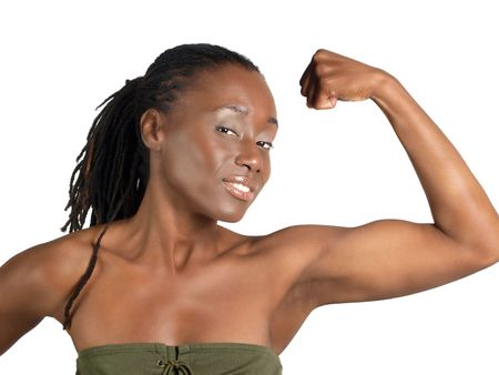 flexed: young fit black woman showing flexed bicep