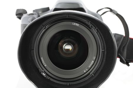 Wide angle zoom lens pointing at viewer on camera