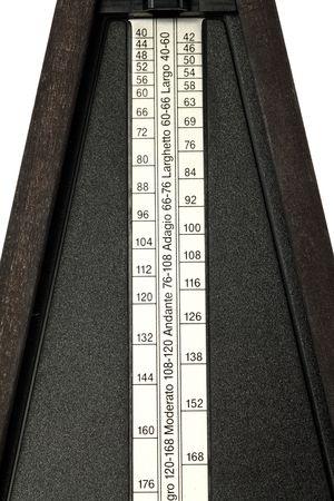 closeup shot of mechanical metronome tempo markings plate