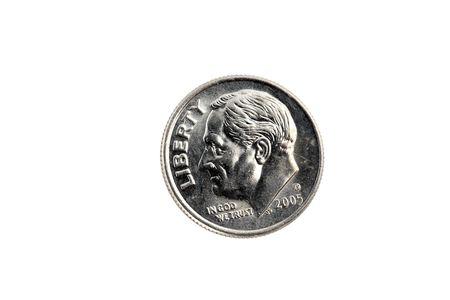 US dime coin closeup on white background Archivio Fotografico
