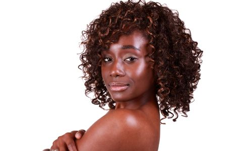 Pretty African American woman in topless portrait Stock Photo - 6318775