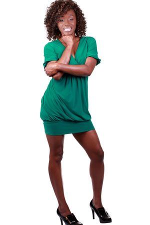 Young African American woman in green dress