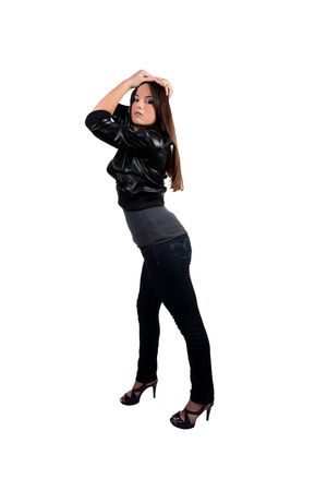 Young teen girl in black jacket and jeans Stock Photo - 6292314