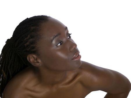 bare shoulders: Beautiful African American woman portrait bare shoulders Stock Photo