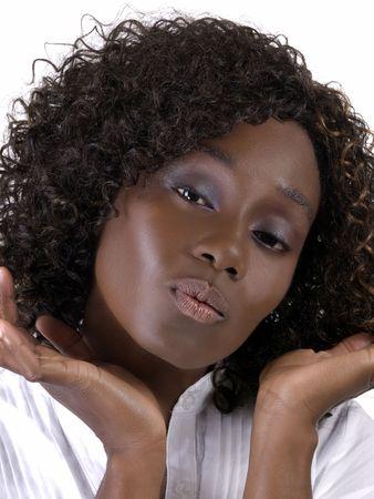 pucker: Attractive African American Woman Portrait with pucker