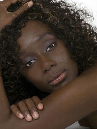 Pretty young African American woman portrait bare shoulder Archivio Fotografico