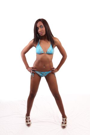 african bikini: young black woman in swim suit and shoes