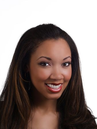 Young African American woman with braces on upper teeth       Archivio Fotografico