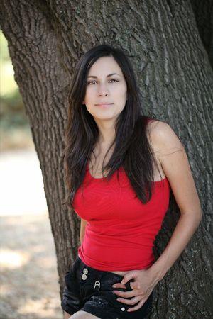 latina teen: Young latina teen girl outdoor portrait red top