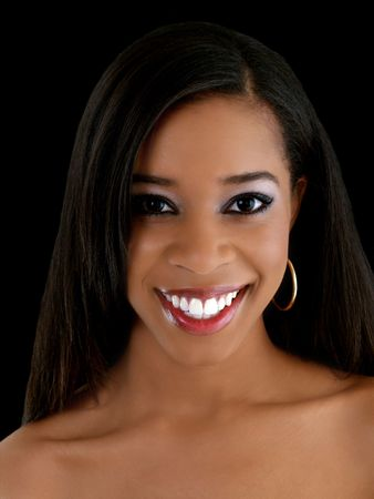 african american woman: Young African American woman with big smile portrait
