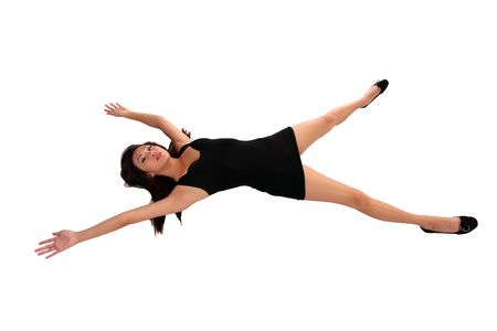 Young oriental woman black dress spread-eagle on floor Stock Photo - 8193814