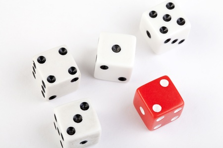 five old dice on white background horizontal