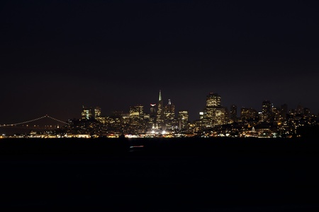 sf: SF cityscape lights at night from Sausalito