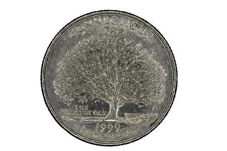 pluribus: Closeup of Connecticut United States Quarter Tail