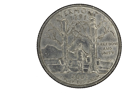 pluribus: Closeup of Vermont Quarter Coin Tail side Maple Tree Stock Photo