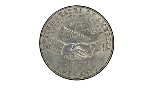 pluribus: Closeup of US Coin Nickle Louisiana Purchase Tail