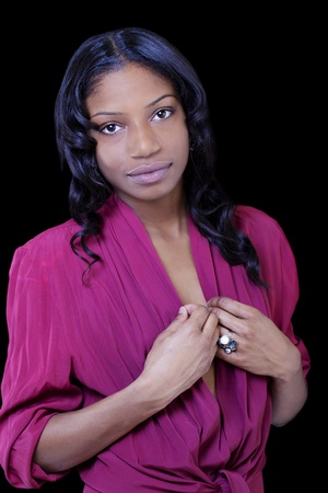 Young Attractive Black Woman in Purple Shirt photo