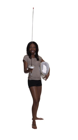fencing foil: Young Black Woman Standing Fencing Foil and Mask Stock Photo