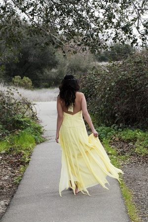 Young Woman Walking Down Path Bare Foot Dress Stock Photo - 12775242