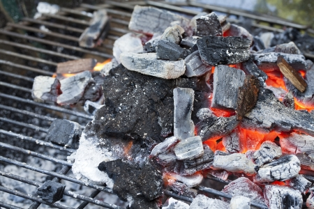 Red Hot Wood Charcoal on barbecue grill
