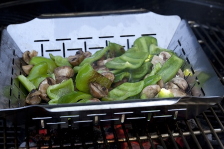 Green Peppers and Mushrooms on Barbecue Grill