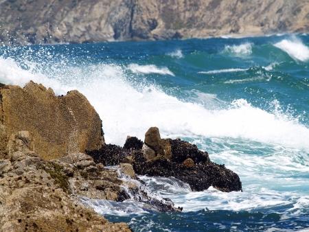 encrespado: Olas agitadas de la bah�a de estrellarse en la costa Foto de archivo
