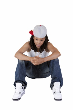 tomboy: Young African American Woman Tomboy Sitting Jeans