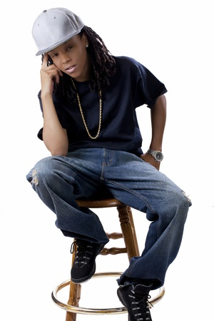 Young African American Woman Blue Shirt Jeans photo