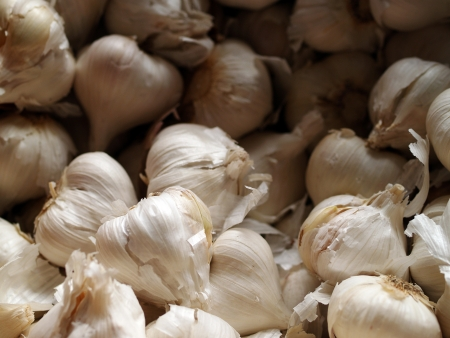 Bulk Garlic in Natural Lighting Outdoor Market