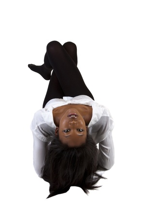 Black Woman Head Tilted Back Reclining Stockings