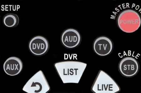 ボタンの古いテレビのリモート コント ローラーのクローズ アップ