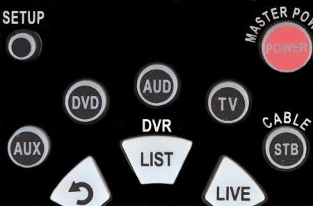 Buttons of Old Television Remote Controller Closeup Stock Photo