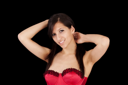 red corset: Young Woman Smiling Arms Up Red Corset