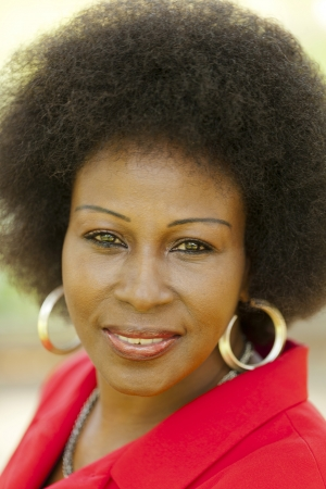 Outdoor Portrait Middle-Aged African American Woman Red Jacket