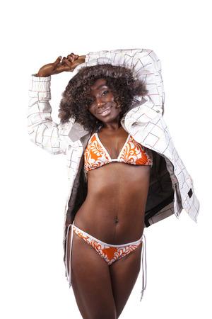 Attractive Black Woman Bikini And Winter Jacket photo