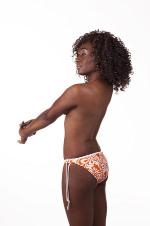 Side Back View Black Woman Bikini Bottom photo