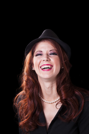 red head: Caucasian Woman Portrait Big Smile Red Head Stock Photo