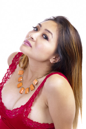 low cut: Asian American Low Cut Red Top Necklace