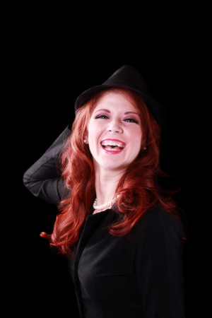 Open Mouth Laugh Red Headed Caucasian Woman Stock Photo