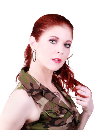 red head: Attractive Red Head Woman Camouflage Top Portrait