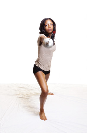 fencing foil: Black Woman With Fencing Foil Shorts And Shirt Stock Photo