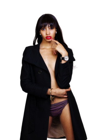 Skinny African American Woman Open Jacket Panties
