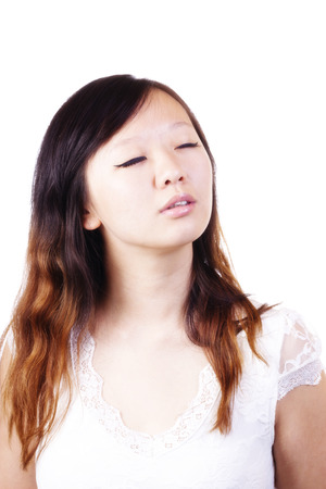 Portrait Young Attractive Chinese Woman Eyes Closed