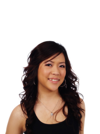 asian american: Smiling Portrait Asian American Woman Black Top Stock Photo