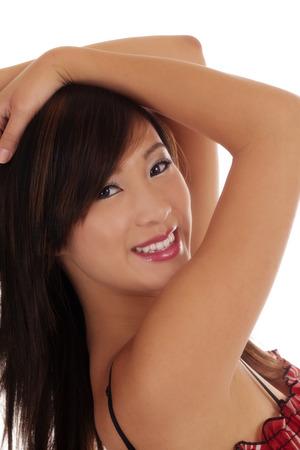 asian american: Portrait Cheerfully Smiling Asian American Teen Girl