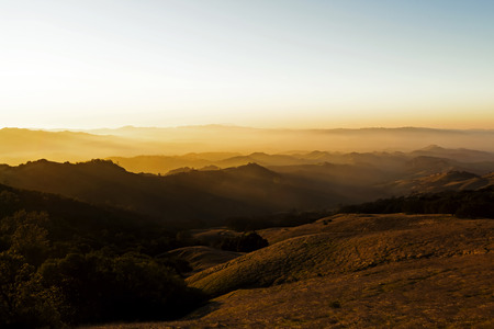 Hills And Haze Sunset View From Mount Diablo