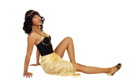 Attractive African American Woman Sitting Black Leotards Stock Photo