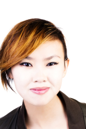 asian american: Attractive Asian American Woman Portrait With Short Hair