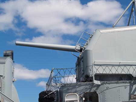 Side View Five Inch Gun World War II Naval Ship