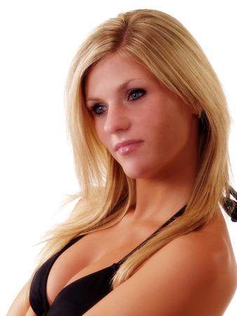 cleavage: Blond Woman Black Bikini Top Portrait Cleavage